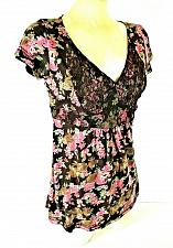 Buy LEI womens Juniors XL S/S brown pink green LACE bodice TIE back STRETCH top (J)