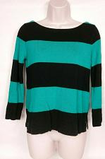 Buy J Crew Womens Pullover Crew Neck Sweater Size XS Black Teal Striped