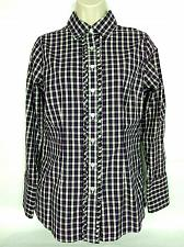 Buy Lands End Womens Western Shirt Size 6 Purple White Plaid Ruffles Long Sleeve