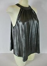 Buy ONE HEART CLOTHING womens Medium sleeveless gray SHINY keyhole back top (B6)P
