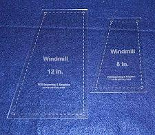 """Buy Windmill 2 piece set Quilting Templates- For 8"""" & 12"""" Squares- Clear 1/8"""""""