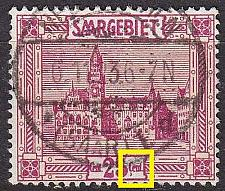 Buy GERMANY Saar [1922] MiNr 0089 PF I ( O/used ) Plattenfehler