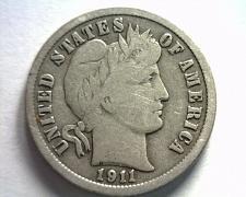 Buy 1911 BARBER DIME FINE / VERY FINE F/VF NICE ORIGINAL COIN BOBS COINS FAST SHIP