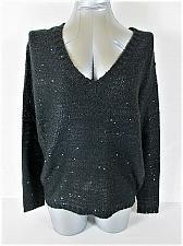 Buy DECREE womens Medium L/S BLACK SEQUINS SHEER BACK V NECK SWEATER (V)P