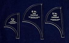 "Buy Half Clamshell Templates. 3 Piece Set 4"", 5"", 6"" - Clear Acrylic 1/8"""