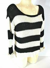 Buy KENJI womens Medium L/S white black FAUX BUTTON back cuffed knit sweater (Y)