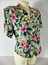 Buy JACLYN SMITH womens Medium S/S pink blue green FLORAL button down top NWT (B6)