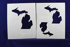 """Buy State of Michigan 2 pc Stencil Set-Mylar 14 Mil 4"""",5', 6"""" - Painting /Crafts/ Te"""