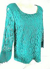 Buy Style & Co womens Medium L/S green LACE crochet CUFFS lined stretch top NWT (G)