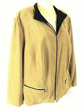 Buy JM Collection womens Sz 20W L/S tan faux SUEDE 2 zip pocket jacket (B8)