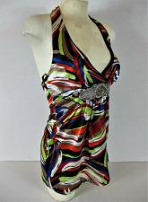 Buy CHARLOTTE RUSSE womens Small sleeveless multicolor BROACH halter top NWT (M)P