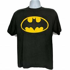 Buy Batman Logo DC Comics Superhero T-Shirt Large Black Gold Short Sleeve Crew Neck