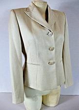 Buy LE SUIT womens Sz 4P L/S tan TEXTURED PINSTRIPE button down LINED jacket (C2)
