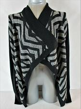 Buy CANDIES womens Small L/S gray black OPEN FRONT cardigan sweater (A9)