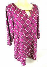 Buy Charter Club womens 2X 3/4 sleeve purple white KEYHOLE neck TUNIC top (X)PMTD