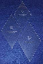 "Buy Diamond Quilt Templates 8"", 9"", 10"""" - Clear 1/8"" 60 Degree W/guideline Holes"
