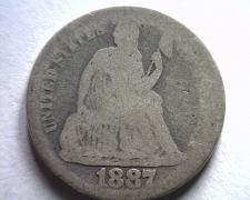 Buy 1887 SEATED LIBERTY DIME ABOUT GOOD / GOOD AG/G ORIGINAL COIN BOBS COINS