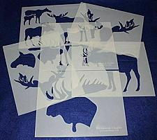 """Buy Moose and Moose Head Stencils -Mylar 6 Pieces of 14 Mil 8"""" X 10"""" - Painting /Cra"""
