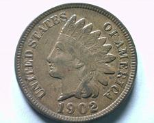 Buy 1902 INDIAN CENT PENNY EXTRA FINE / ABOUT UNCIRCULATED XF/AU NICE COIN EF/AU