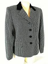 Buy REQUIREMENTS womens Sz 10P L/S black white WOOL blend VELVET collar jacket (C2)