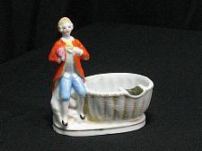 Buy Porcelain Victorian Man with Basket Figural Ashtray Snuffer Vintage Japan