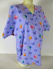 Buy SB SCRUBS womens Medium S/S lilac pink blue BUTTERFLY print scrub top (C)