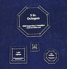 """Buy 4 Piece Set Octagon & Squares Quilt Templates - With Seam Allowance -Clear 1/8"""""""