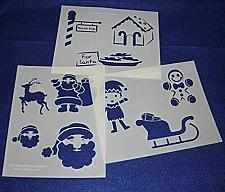 "Buy Santa Claus Stencils 3 Pieces of 14 Mil Mylar 8"" X 10"" - Painting /Crafts/ Templ"
