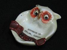 Buy Vintage Porcelain Ashtray Owl Otawa Canada Souveneir Figural Snuffer Japan