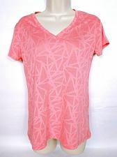 Buy Avia Women's Active Wear T-Shirt Medium Orange Geometric Short Sleeve V Neck