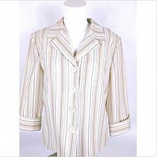 Buy Dressbarn Women's Suit Coat Medium Lined Long Sleeve Ivory Striped
