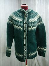 Buy Handknit Fair Isle Sweater Cardigan Green Mohair Fuzzy Hairy Wool Vintage S