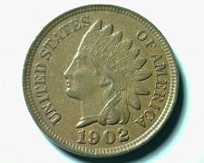 Buy 1902 INDIAN CENT PENNY CHOICE ABOUT UNCIRCULATED+ CH AU+ NICE ORIGINAL COIN