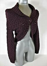 Buy EXPRESS womens Small L/S purple crochet CABLE KNIT 1 button SHRUG sweater (A5)