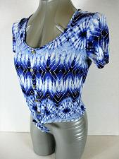 Buy CHARLOTTE RUSSE womens Small S/S blue black white TIE FRONT stretch crop top M)P