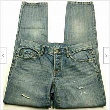 Buy Ann Taylor Loft Boyfriend Slim Leg Jeans Size 2 Blue Distressed Button Fly