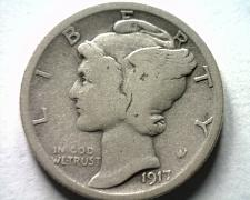 Buy 1917-S TYPE OF 1917 MERCURY DIME VERY GOOD VG NICE ORIGINAL COIN FROM BOBS COINS