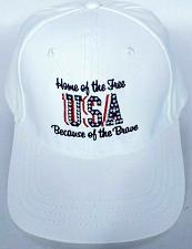 Buy Home Of The Free Because Of The Brave USA Men's Patriotic Hat White One Size
