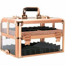 Buy Rose Gold Nail Polish Manicure Organizer Storage Makeup Train Case Box Travel