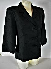 Buy KARIN STEVENS womens Size 10 3/4 sleeve black BOW BUTTON DOWN jacket (A8)P