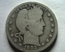 Buy 1903-O BARBER QUARTER DOLLAR GOOD G NICE ORIGINAL COIN FROM BOBS COINS FAST SHIP