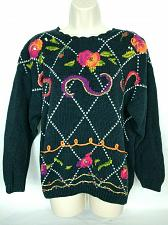 Buy Needles & Yarn Womens Pullover Sweater Size Large Sequins Floral Boat Neck