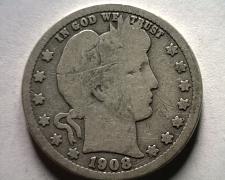 Buy 1908-O BARBER QUARTER DOLLAR VERY GOOD VG NICE ORIGINAL COIN BOBS COIN FAST SHIP