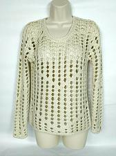 Buy LS Laurie Women's Sweater Small Cream Scoop Neck Cut Out Long Sleeve