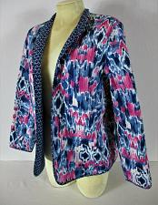 Buy ALFRED DUNNER womens Sz 8 L/S blue pink white QUILTED open front jacket (B8)