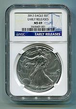 Buy 2012 AMERICAN SILVER EAGLE NGC MS 69 EARLY RELEASES BLUE LABEL PREMIUM QUALITY