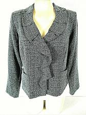 Buy DANNY & NICOLE womens Sz 10 L/S gray black WATERFALL FRONT button jacket (B3)P