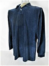 Buy CONTE DI MILANO mens Large BLUE TEXTURE STRIPED COTTON BLEND POLO SWEATER (I)
