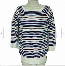 Buy Loft Womens Petites Pull Over Sweater Size XXSP Red Blue White Striped