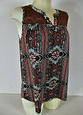 Buy ABSOLUTELY FAMOUS womens Medium sleeveless brown red LACE TRIM stretch top (T)